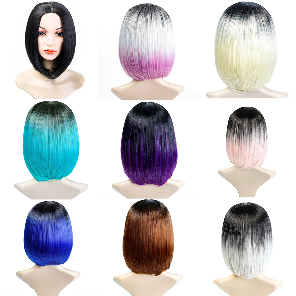 DIFEI <font><b>Short</b></font> Omber Bob <font><b>Wigs</b></font> for Black Women Cosplay <font><b>Wigs</b></font> Black To Green <font><b>Pink</b></font> Gray Synthetic Hair Piece Party <font><b>Wig</b></font> image