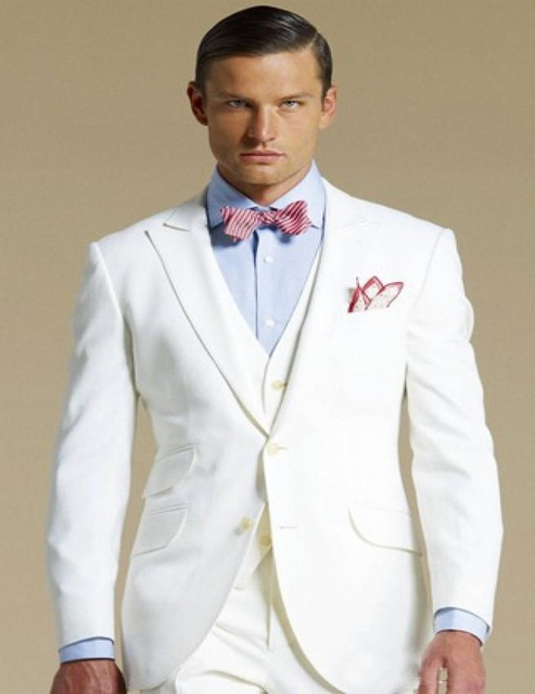 Designer 3 Piece Cream Suits for Men, Smoking Tuxedos for Groom ...
