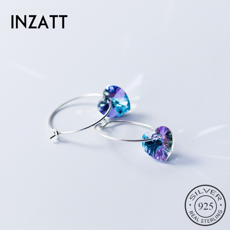 INZATT Real 925 Sterling Silver Colors Heart Stone Bohemia Hoop Earrings 2018 For Fashion Women Fine Jewelry Accessories Gift(China)