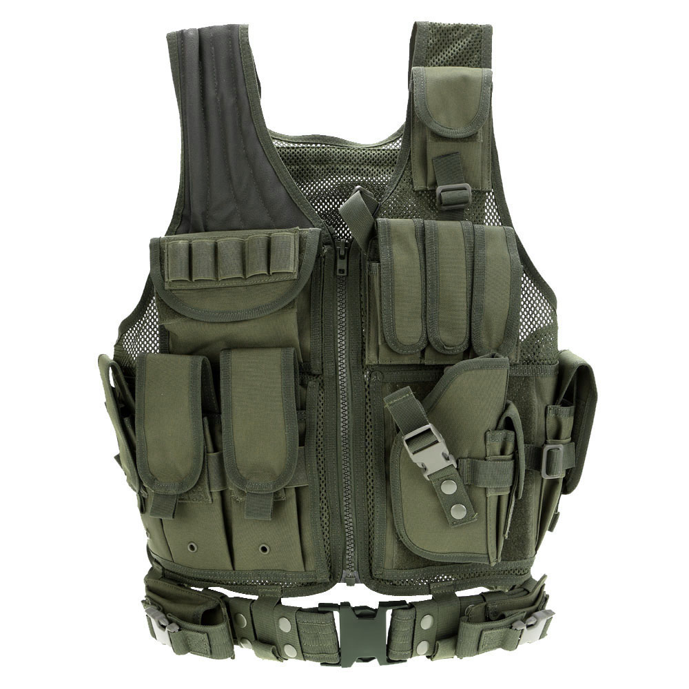 Professional Sale Outdoor Men Cs Vest Camouflage Camo Hunting Vest Molle Military Tactical Vest Army Vest Body Assault Clothes With Holster Durable Modeling Vests