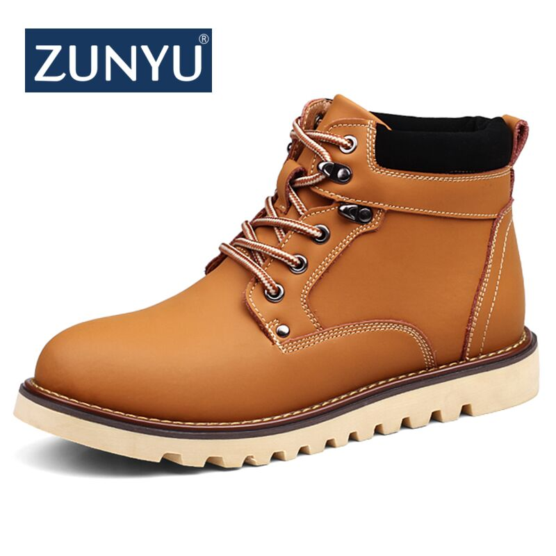ZUNYU 2018 New Genuine Leather Men Snow Boots Autumn Winter Outdoor Working Man Ankle Boot Men's Work Shoes Plus Size 39 46