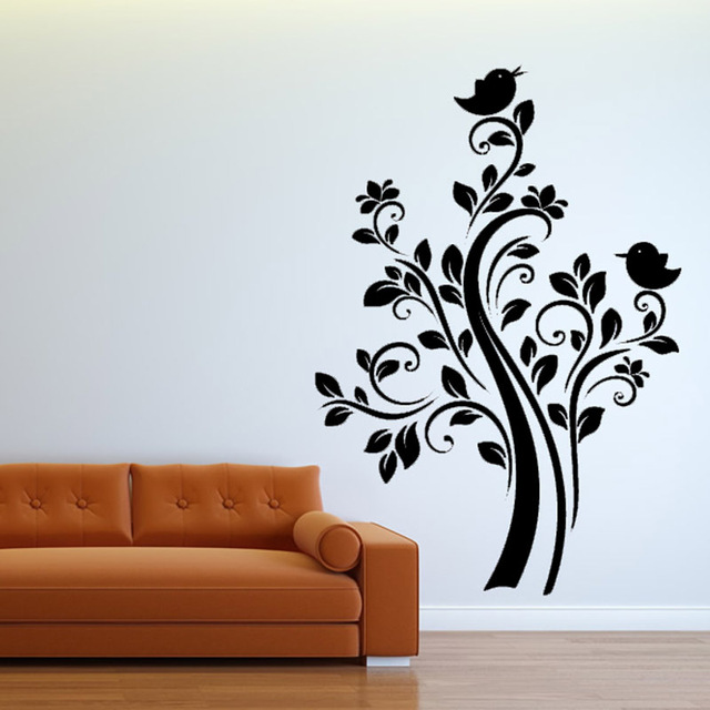 Nature plant wall sticker diy two birds on the tree wall decal vinyl art wall decor