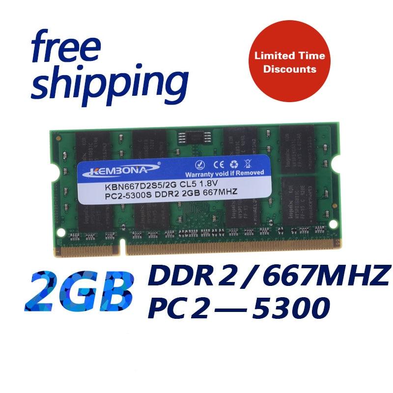 KEMBONA besten preis lager schnelles freies verschiffen ram SODIMM laptop ram ddr2 2 gb 667 mhz pc5300 200PIN NON-ECC