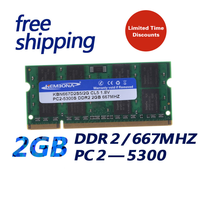 KEMBONA best price stock fast free shipping ram SODIMM laptop ram ddr2 2gb 667mhz pc5300 200PIN NON-ECC