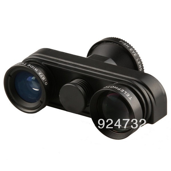 4 em 1 olho de peixe Macro 5X Super telefoto / lente para iPhone 5 5S