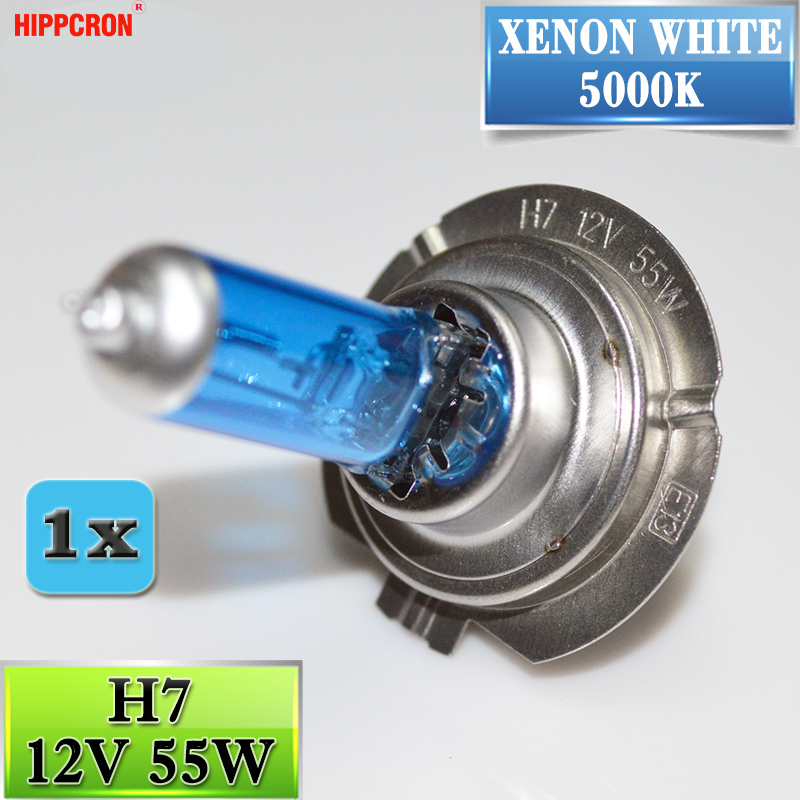 Hippcron H7 Halogen Bulb 12V 55W Dark Blue 5000K Super White Quartz Glass Car HeadLight Replacement Lamp