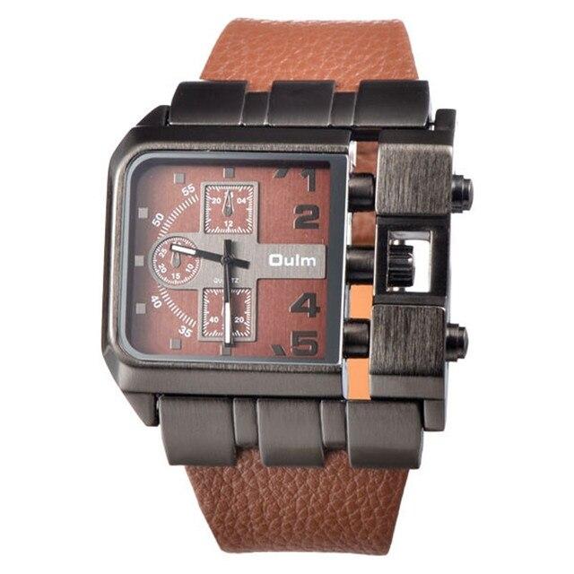 0493f418213 Design de Moda Retângulo OULM 3364 Marca Original Relógios Homens Ampla  Pulseira de Couro Casual Relógio