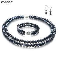 HOOZZ.P 6 7mm White Black Freshwater Cultured Pearl Set Necklace Bracelet Earring set for women Anniversary Engagement Wedding