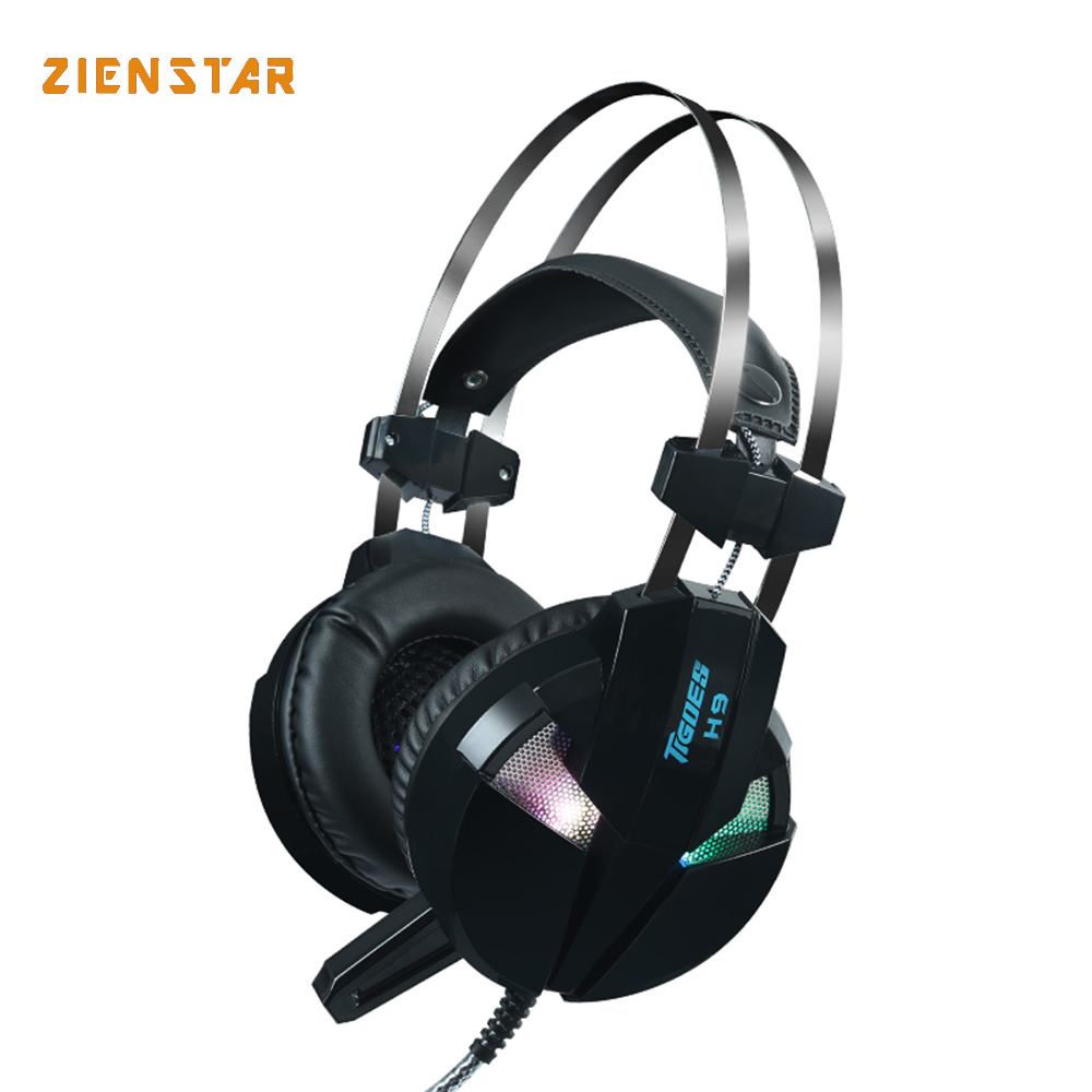 Zienstar Gaming Headset Deep Bass Computer Game Headphones with Microphone LED Light for Computer PC gaming headset led light glow noise cancealing pc gamer super bass headband headphones with microphone for computer pc