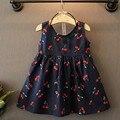 2017 Del Verano Del Bebé Vestido de Traje Casual Ropa Muchachas de la Impresión Floral Del Vestido 2-11 años el envío libre