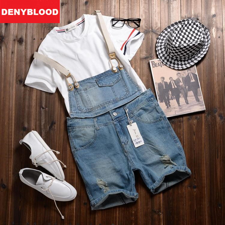 2016 Summer New Arrival Stretched Mens Slim Straight Denim Overalls Distressed Jeans Ripped Jumpsuit Male Suspenders Bibs 281 denim overalls male suspenders front pockets men s ripped jeans casual hole blue bib jeans boyfriend jeans jumpsuit or04