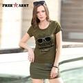 2016 Nueva Llegada Del Verano Del Estilo mujeres de la camiseta de Impresión Verde Del Ejército Camuflaje pantalones cortos faldas GK-9523A