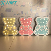 Ins style Bear LED Night Light Wooden Cartoon LED Night Lamp for Children Baby Indoor Decorative Bedside Lamp