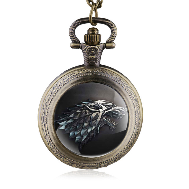 Retro Bronze Pocket Watch Game of Thrones Design Jewelry