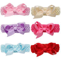 6 Pcs Lot Cute Baby Girls Headband Toddler Infant Polyester Bowknot Headbands Turban Solid Color Vendas