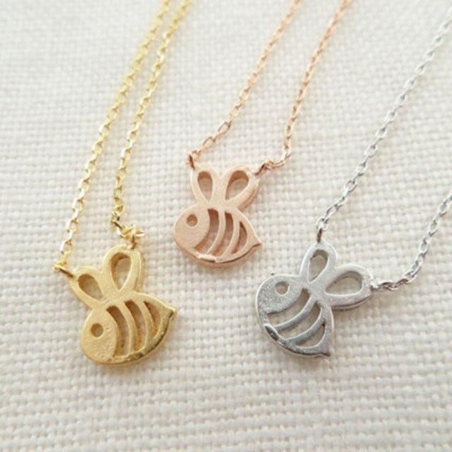 Großhandel Trendy Teeny Tiny Honig Biene Halskette Frauen Origami