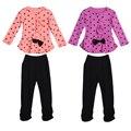 Nueva Llegada Del Otoño Del Resorte Niños Niñas Bebés Ropa Set Corazón Dot Bowknot Blusa Camiseta de la PC y PC Pantalones Trajes Set 1-3Y