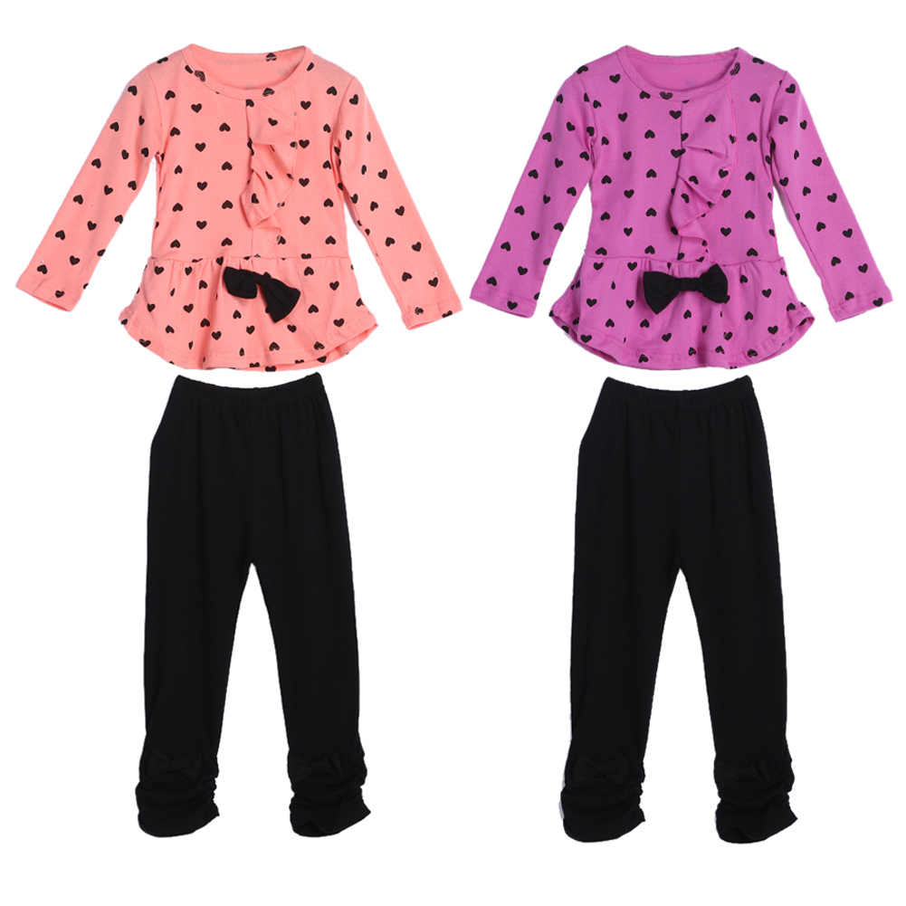 Spring Autumn Kids Baby Girls Clothes Set 2pcs/set Cute Heart Dot Bowknot Blouse PC Shirts+PC Pants Trousers Outfits Set 1-3Y