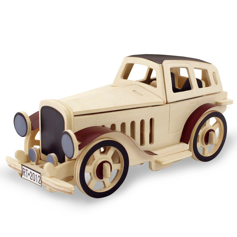 3D Wood Puzzle Children DIY Wooden Aircraft Assembly Model Vintage Car Handmade Toys for Children Gifts