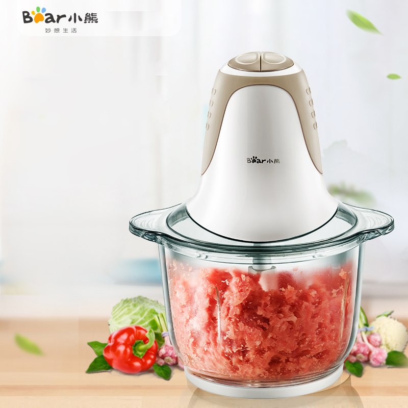 Bear QSJ-A03D2 Home Meat Grinder Electric Meat Grinder Multifunction Mixer Cooking Machine 4 Blade Thickened Glass 2L Capacity