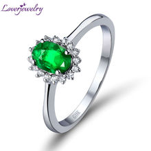 2015 Valentine's day  New Engagement Oval 4x6mm Natural Diamond Emerald  Ring 18kt White Gold WU0128