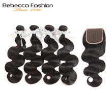 Rebecca Non Remy Peruvian Body Wave With Closure Mänskliga Hårväv 4 Bundlar Med 4X4 Lace Closure Hårförlängningar Gratis frakt