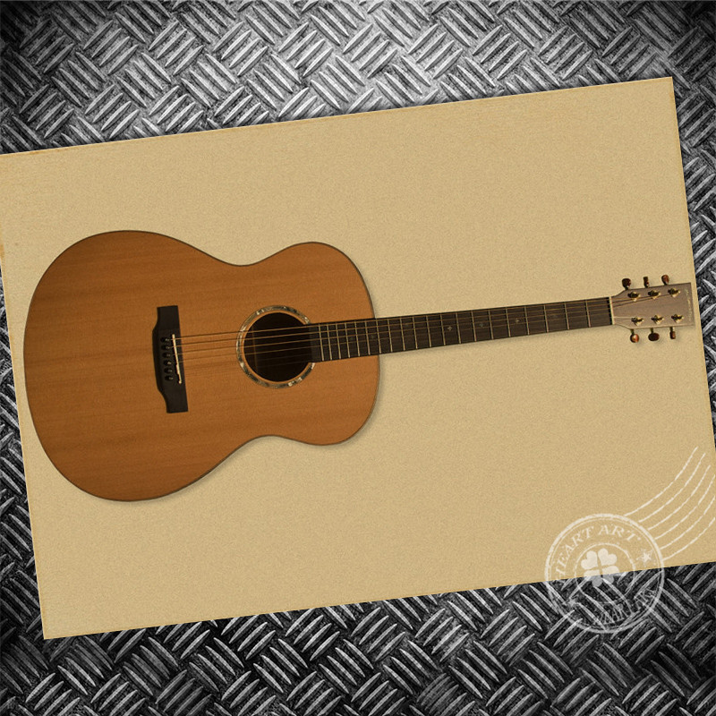 Vintage poster Guitar Picture Retro paper print photo Wall art ...