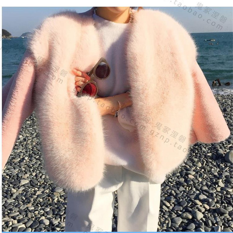 2019 Yeni Kış Kadın Kürk Kore Tarzı Pembe Güzel Moda En - Bayan Giyimi - Fotoğraf 3