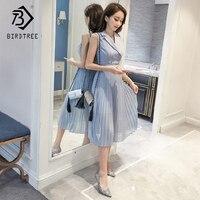 Korean Style Fashion Summer Women Dresses Elegance Notched Collar Patchwork Sweet Chiffon Big Hem Long Dresses Hot Sale D85026LD