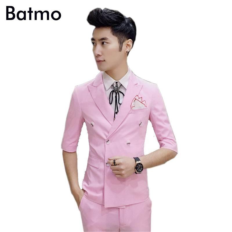 2017 новое поступление, летний розовый Повседневный двубортный костюм для мужчин, повседневный блейзер с коротким рукавом, свадебное платье,
