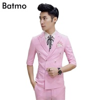 2017 new arrival summer pink casual Double Breasted suit men,casual half sleeves blazer,wedding dress,(Jackets+Pants) 5 colors