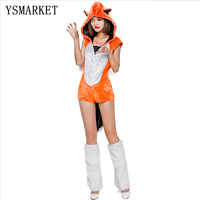 2017 Adult Womens Sexy Orange Halloween Party Fox Costumes Outfit Fancy Animal Jumpsuits With Foot Strap