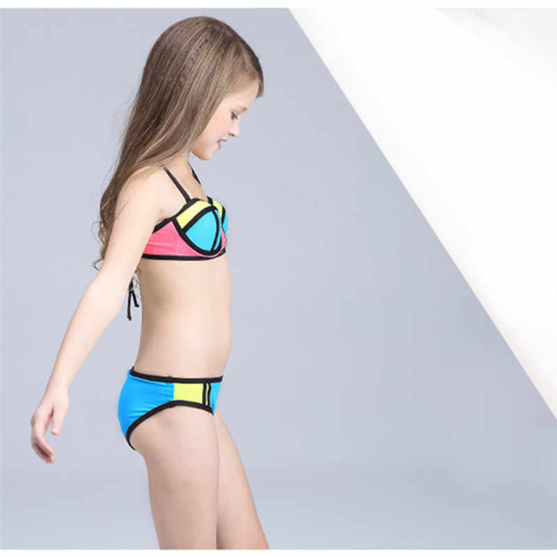 905b8d9ffc ... Girls Bikini Children Swimsuit Patchwork Swimwear for Teenage girl 3-12  Years kids two pieces ...