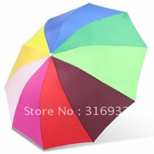 Free shipping, 10 Colors Strong Ribs Rainbow Rain/parasol folding Umbrella