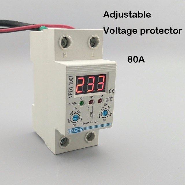 80a 220v adjustable automatic reconnect over voltage and under