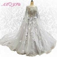 AXJFU Princess grey lace flower wedding dress lace beading golden luxury sparkly veil wedding dress xj00126