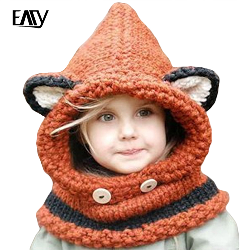 Children Winter Hat 2017 Girls Boys Kids Hats Cute Style Thick knitted Cap Warm Neck Wrap Fox Scarf Caps Fashion hat Black/Grey цены онлайн