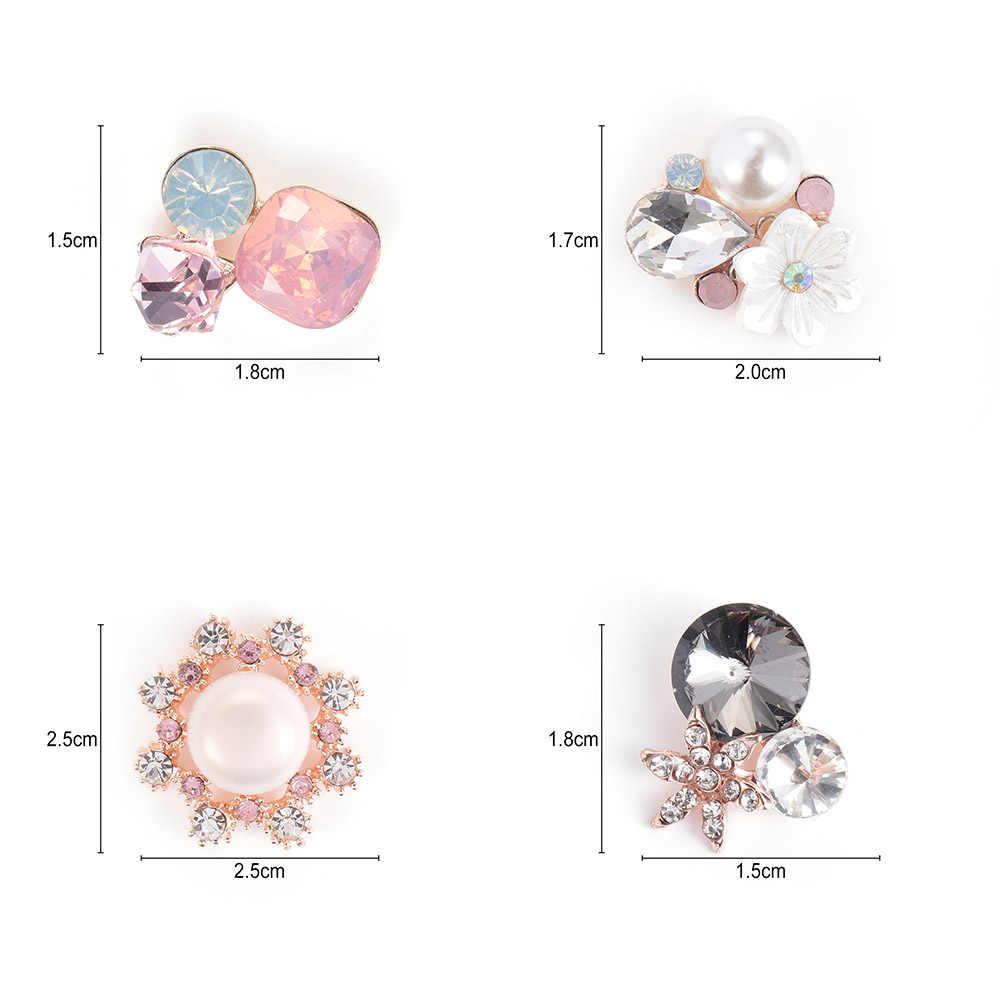 Mode Creatieve 10 Pcs Flower Rhinestone Knoppen Plaksteen Plating Parel Haarspeld Decoratie Diy Craft Kleding Naaien Accessoires
