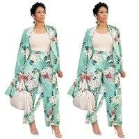 Women Blazer set Floral Printed Suits Jacket Pant Suits European and American Style Outfit 2 pcs set female suit Autumn outwear