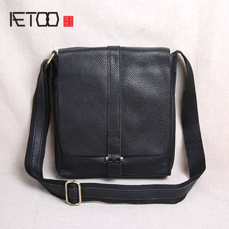 AETOO New clamshell tide layer cowhide cross section shoulder bag men s Messenger bag casual leather