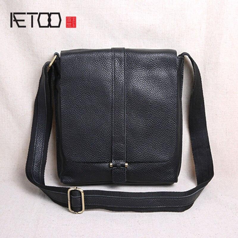 AETOO New clamshell tide layer cowhide cross section shoulder bag men's Messenger bag casual leather men bag