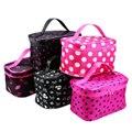 2016 nueva llegada de gran capacidad de bolsa de cosméticos bolsa de maquillaje Coreano dot bolso de las mujeres bolsa de lona bolsa de viaje grande de almacenamiento portátil