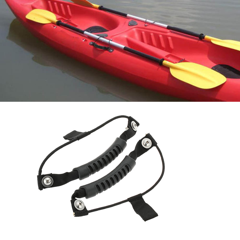 2pcs Rubber Kayak Carry Handle Boat Canoe Fixing Paddle With
