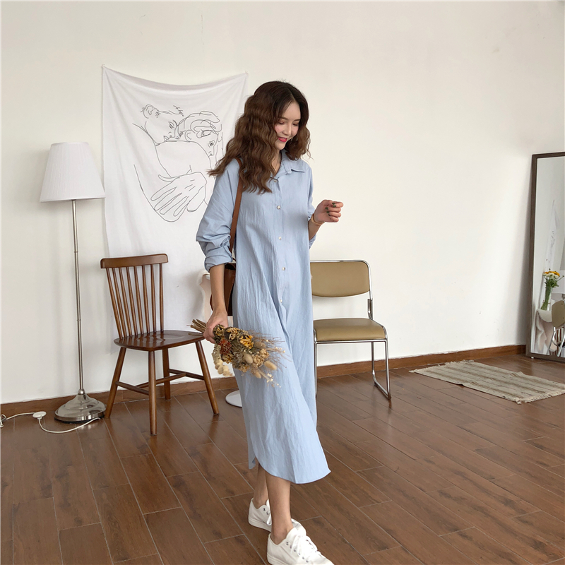 Vintage autumn Long Dress long Sleeve shirt turn down collar woman Lady loose shirt Casual Fashion maxi Dress cotton blue white 14