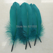 Goose Feathers,200pcs/lot Teal blue Satinettes Feathers, Loose feathers,10-18cm,craft feathers for masks, mailings