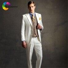 Ivory Wedding Men Suits Slim Fit Groom Wear Tuxedos 2 Pieces (Jacket+Pants) Bridegroom Best Man Blazer costume homme