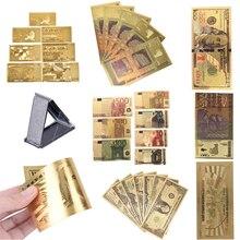 Различные типы американская золотая фольга доллар банкнота поддельные деньги искусство ремесла высоко коллекционные Пластиковые Золотые поддельные деньги евро долларов