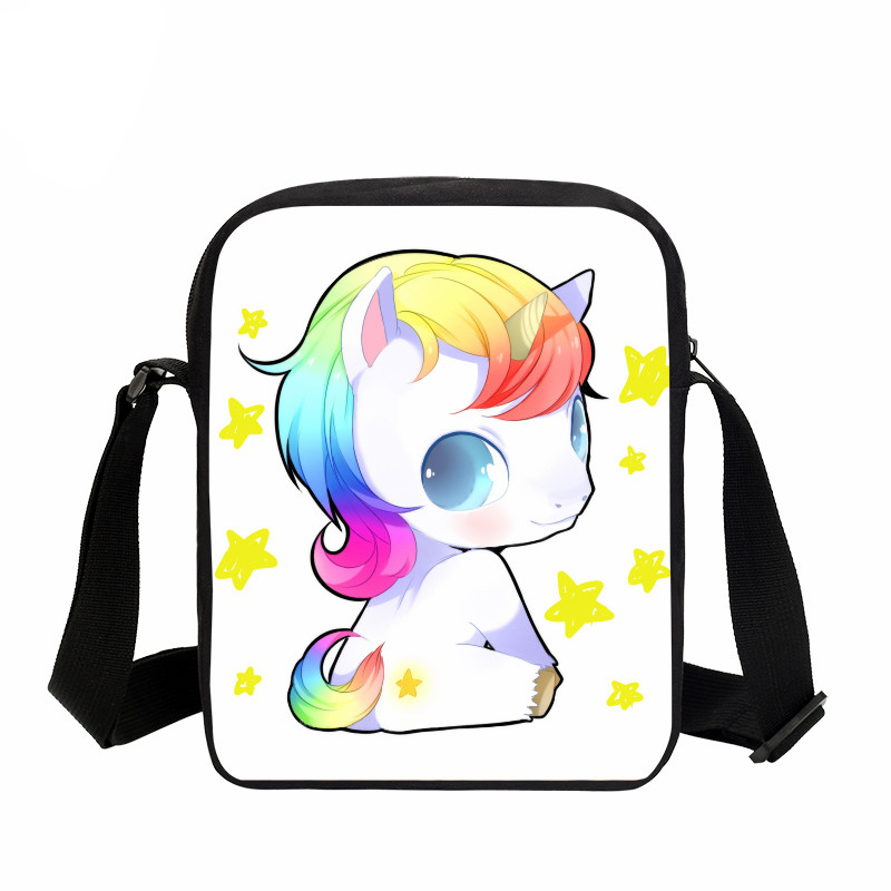 VEEVANV Unicorn Messenger Bag For Women Fashion Galaxy Rainbow Shoulder Bag Kids Cartoon Horse 3D Printing Small Crossbody Bag
