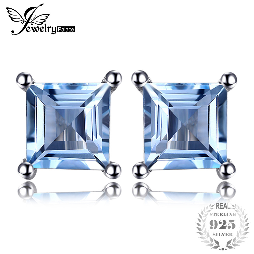 Jewelrypalace Stud Earrings Women 925 Sterling Silver 0.7ct Natural Sky Blue Topaz 2019 Girls Sisters Fashion Brand JewelryJewelrypalace Stud Earrings Women 925 Sterling Silver 0.7ct Natural Sky Blue Topaz 2019 Girls Sisters Fashion Brand Jewelry