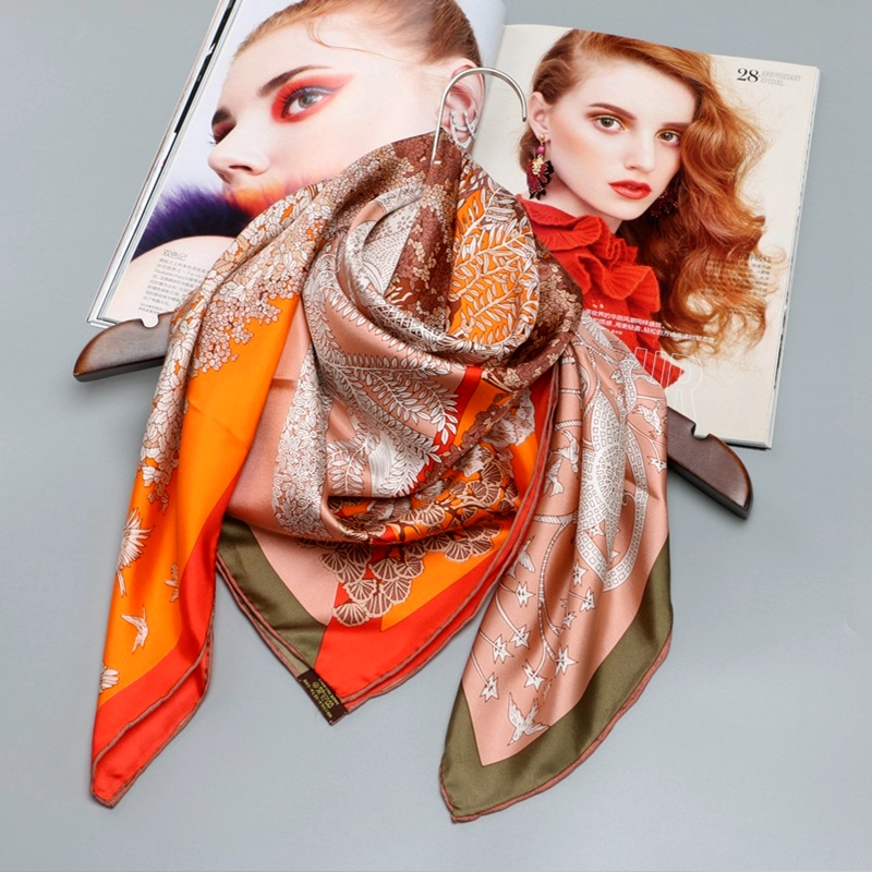 Large Square Silk   Scarf   Shawl Head   Scarves   for Hair Wrapping 100% Silk Twill Scarfs   Wraps   88X88CM Fashion Print   Scarves